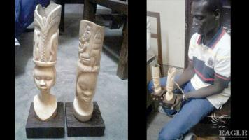 A trafficker arrested with two pieces of carved Ivory.