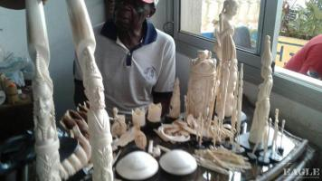 A trafficker arrested with large quantity of carved Ivory