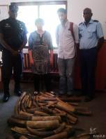 January 2015, Congo: US Ambassador Stephanie Sullivan visits the Gendarmerie where 126 kg of ivory was seized in Brazzaville.