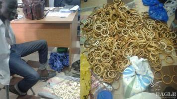An ivory trafficker arrested with 1,081 pieces